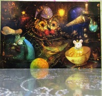 Owl-Stargazer Two Mice Alchemical Laboratory Fine Art Modern Russian Postcard By Polina Yakovleva - Other