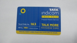 India-top Up-tata Indicom Card-(38r)-(rs.163)-(new Delhi)-(90day After)-used Card+1 Card Prepiad Free - India