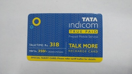 India-top Up-tata Indicom Card-(38s)-(rs.318)-(new Delhi)-(90day After)-used Card+1 Card Prepiad Free - India