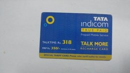 India-top Up-tata Indicom Card-(38t)-(rs.318)-(new Delhi)-(90day After)-used Card+1 Card Prepiad Free - India