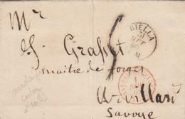 LETTRE SARDAIGNE - BIELLA 30.10.1862 POUR ARVILLART - TAXE PLUME 5 - ENTREE ROUGE SARDAIGNE CULOZ AGD BIEN FRAPPÉE /6876 - Postmark Collection (Covers)
