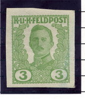 AUSTRIAN MILITARY POST Unissued Karl I 3 H..imperforate Colour Trial  MNH / **. - 1850-1918 Empire