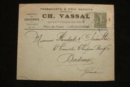 Lettre Semeuse Millésime 5 Carcassonne Ch Vassal Agent Ci Navigation Mixte Touache 1906 - France