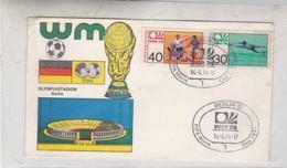 OLYMPIASTADION, BERLIN WM FIFA WORLD CUP. FDC 1974 BERLIN, GERMANY. 2 COLOR STAMPS- BLEUP - Coppa Del Mondo