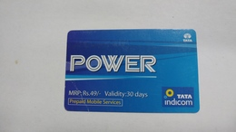 India-top Up-tata Indicom Card-(38w)-(rs.49)-(new Delhi)-(wrinkle)-(30day After)-used Card+1 Card Prepiad Free - India