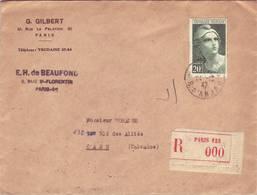 GANDON 20frs VERT N° 730 SEUL SUR LETTRE - France