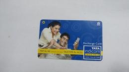 India-top Up-tata Indicom Card-(39a)-(rs.50-talktime Rs.44.55)-(new Delhi)-(12/2008)-used Card+1 Card Prepiad Free - India