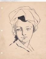 PORTRAIT D'UNE FEMME. DESSINER DRAW DIBUJO BEATRIZ IDA BONNI. CHINESE INK & PEN CIRCA 1910s ORIGINAL- BLEUP - Etains