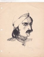 PORTRAIT D'UN HOMME. DESSINER DRAW DIBUJO BEATRIZ IDA BONNI. CHINESE INK & PEN CIRCA 1910s ORIGINAL- BLEUP - Tin