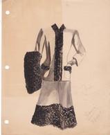 SILHOUETTE D'UNE FEMME. AGUADA INK WASH PEINTURE A L'EAU, BEATRIZ IDA BONNI. CIRCA 1910s ORIGINAL- BLEUP - Etains