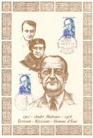 France. 2 Timbres. Cachet 1er Jour. 1979. André Malraux. Soie. - Guerre Mondiale (Seconde)
