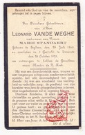 DP Leonard Vande Weghe ° Egem Pittem 1845 † Gesticht Zevekote Gistel 1925 X M. Standaert - Devotieprenten