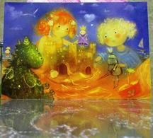 Two Little Girls Dragon Princess Knight Fine Art Modern Russian Postcard By Polina Yakovleva - Postcards