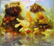 Orchestra Of Animals Bunny With Drum Bear With Violin Fine Art Modern Russian Postcard By Polina Yakovleva - Cartes Postales