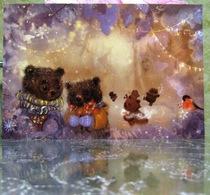 Two Bear Bullfinch Warm Mood Fine Art Modern Russian Postcard By Polina Yakovleva - Other