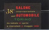 ERINNOFILO TORINO 1956 38° SALONE INTERNAZIONALE AUTOMOBILE - Erinnophilie