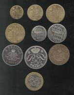 Lot 10 Monnaies Monaco Nouveaux Francs Rainier III - Monaco