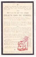 DP Coleta Van De Vondel ° Mechelen 1840 † Godshuis OLV Waver Sint-Katelijne-Waver 1919 - Devotieprenten
