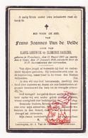 DP Frans J. Van De Velde / Saelens ° Vosselare Nevele 1890 † Gent 1924 - Devotieprenten