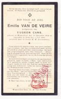 DP Emilie Van De Veire ° Waarschoot 1872 † Beke 1933 X Eugeen Cans / Zomergem - Devotieprenten