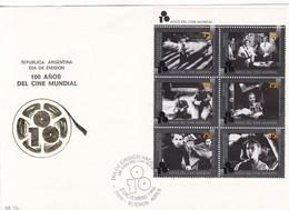 100 AÑOS CINE MUNDIAL. FDC 1995 BUENOS AIRES, L'ARGENTINE; TIMBRE BLOC AVEC BORD DU PLAQUE, CARTE- BLEUP - Cinéma