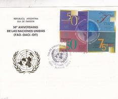 50 ANIVERSARIO NACIONES UNIDAS. FDC 1995 BUENOS AIRES, L'ARGENTINE; TIMBRE BLOC, CARTE CARD- BLEUP - Organisations