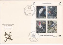AVES ARGENTINAS DE AXEL AMUCHASTEGUI. FDC 1993 BUENOS AIRES, L'ARGENTINE; TIMBRE BLOC AVEC BORD DU... CARTE CARD- BLEUP - Birds