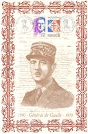 France. 4 Timbres. Cachet 1er Jour. 2000. Général De Gaulle. Soie. - Guerre Mondiale (Seconde)