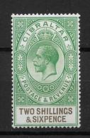 Gibraltar 1925,KG-V, 2sh6p Scott # 87,VF MNH**OG (BL-II) - Gibraltar