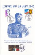 France. Diptyque Historique Dédié  à L'Appel Du 18 Juin 1940. 15 Timbres Et Oblitérations 2000 - Guerre Mondiale (Seconde)