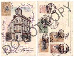 Romania Bucuresti Bucuresci Hotel Imperial Cafe Kubler RARE Color Embosata Reliefata Nice Franking Stamps Regale Royal - Roumanie
