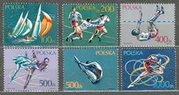 POLAND MNH  ** 3064-3069 SPORTS VOILIER RUGBY SAUT EN HAUTEUR PATINAGE ARTISTIQUE PLONGEON GYMNASTIQUE - 1944-.... République