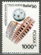 POLAND MNH ** 3073 COUPE DU MONDE DE FOOTBALL En Italie Le Colisée Balle Ballon - 1944-.... Repubblica