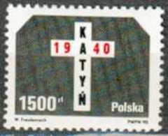 POLAND MNH ** 3076 KATYN Cinquentenaire Du Massacre D'officiers Seonde Guerre Mondiale - Unused Stamps