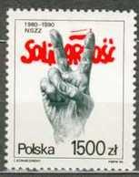 POLAND MNH ** 3084 ANNIVERSAIRE DU SYNDICAT SOLIDARNOSC Main Doigt - 1944-.... République