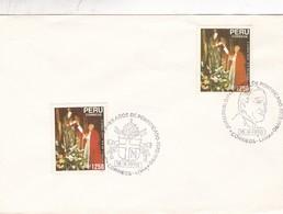 JUAN PABLO II, XII AÑOS DE PONTIFICADO LIMA 1990 OBLITERE. ENVELOPPE, PERU- BLEUP - Papes