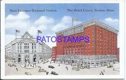 105267 US BOSTON MASSACHUSETTS THE HOTEL ESSEX MAIN ENTRANCE STATION TRAIN POSTAL POSTCARD - Vereinigte Staaten