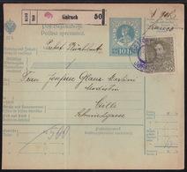 Gairach - Jurklošter, Parcel Card (vertical Crease), Franked With 30 Hel, Some Short Perfs, 1914 - 1850-1918 Empire
