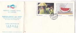 MENSAJEROS DEL ARTE. FDC 1998 CHILE 2 DIFFERENT STAMPS ART THEME - BLEUP - Chili