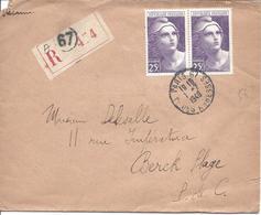 PARIS 67 1 7 1949 RECOMMANDE  Pour Berck Timbre 25F Gandon En Paire N° 731 - France