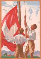 Carte Fête Nationale Suisse 1929, Fahnenaufzug, Illustrateur J.A. Courvoisier (315) 10x15 - Covers & Documents