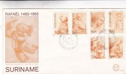 RAFAEL SANZIO. FDC 1983 SURINAME 5 DIFFERENTS STAMPS SAME SERIE - BLEUP - Arts