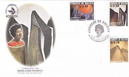 MARIA LUISA PACHECO. CORDILLERA. FDC 2002 BOLIVIA 3 COLOR STAMPS - BLEUP - Sculpture