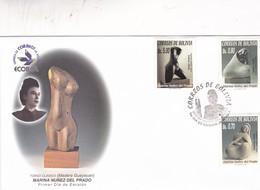 MARINA NUÑES DEL PRADO. TORSO CLASICO, MADERA GUAYACAN. FDC 2002 BOLIVIA 3 COLOR STAMPS - BLEUP - Sculpture