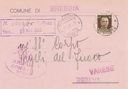 Brebbia. 1943. Annullo Guller  BREBBIA *VARESE* ,  Su Cartolina Comunale - Storia Postale