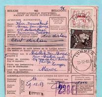 N°848A+1027B Op Internat. Postwissel (Marokko), Afst. LUMMEN 29/12/1969 Naar TANGER + Taks 0,50 Dirham - 1936-1951 Poortman