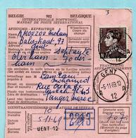 N°848A Op Internat. Postwissel (Marokko), Afst. GENT 12 05/1/1969 Naar TANGER + Taks 0,50 Dirham - 1936-1951 Poortman