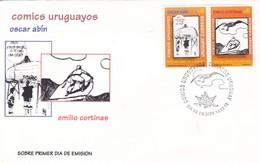 COMICS URUGUAYOS, OSCAR ABIN, EMILIO CORTINAS. FDC 1998 URUGUAY STAMP A PAIR- BLEUP - Childhood & Youth