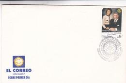 ROTARY, VISITA A URUGUAY DEL PRESIDENTE DE R.I. RICHARD D. KING Y SRA CHERIE. FDC 2001 URUGUAY- BLEUP - Rotary, Lions Club