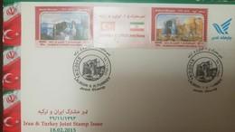 L) 2015 IRAN, JOINT EMISSION IRAN TURKEY, KABOOD MOSQUES, GREEN MOSQUE, ARCHITECTURE, TEMPLE, STRIP OF 3, FDC - Iran